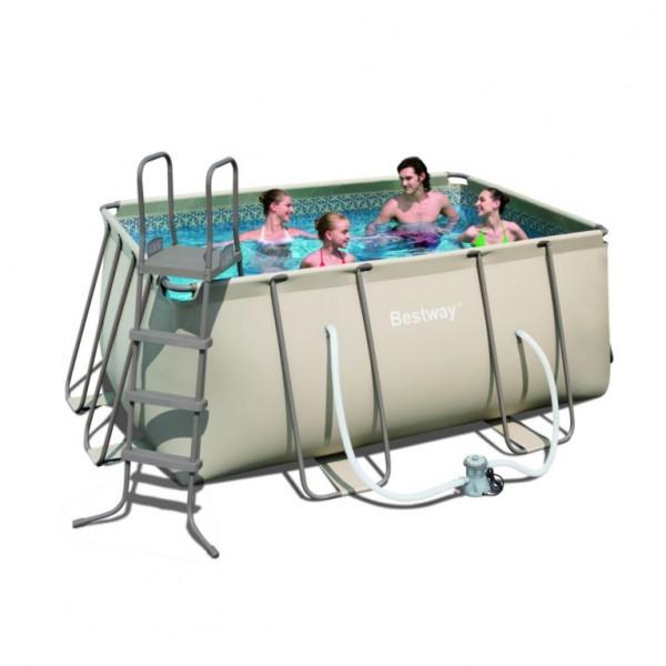 Bestway rectangular framepool 305 x 203 x 122 cm for Rechthoekig zwembad met pomp